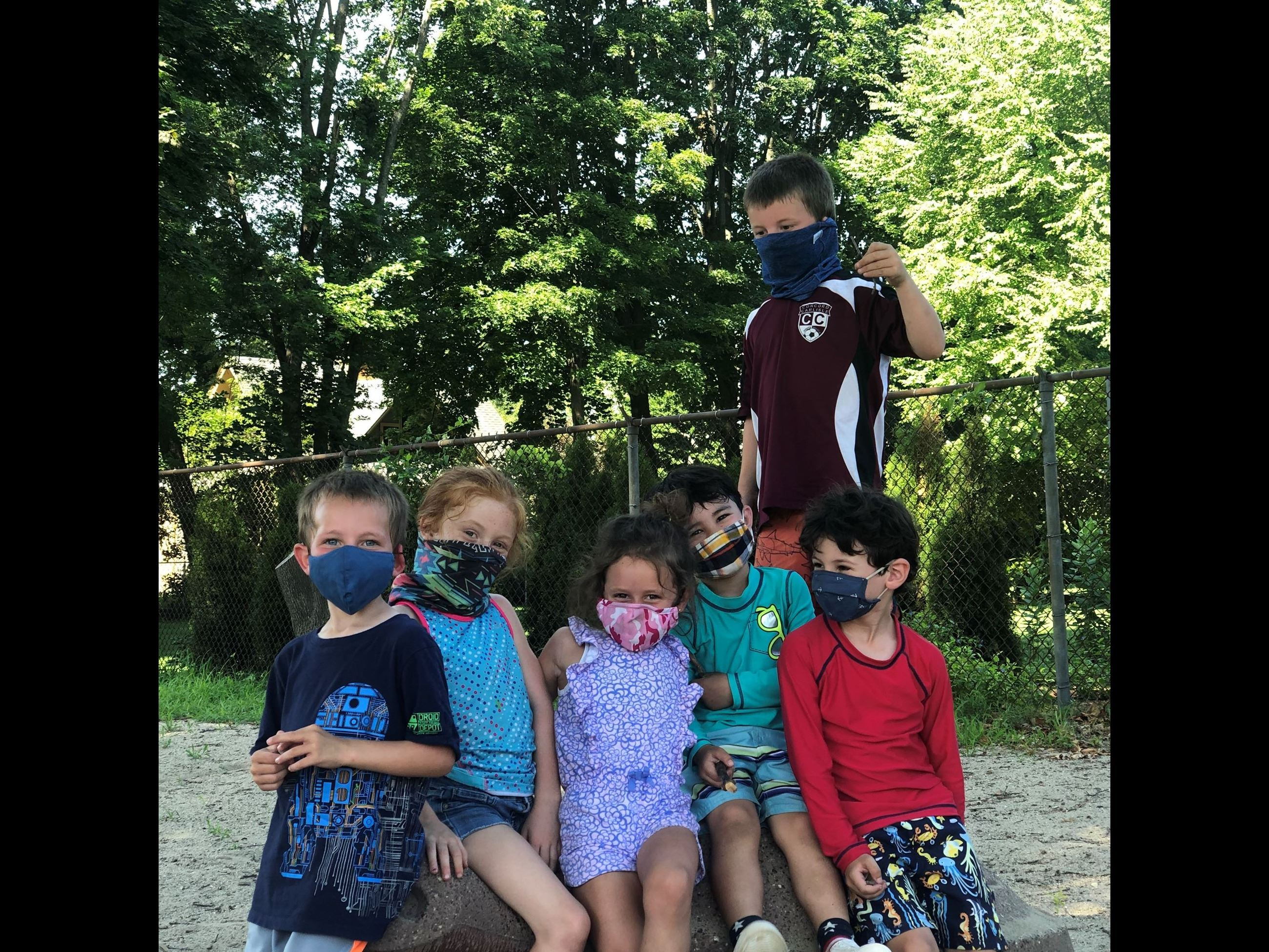 Summer 2020 photo of campers with masks